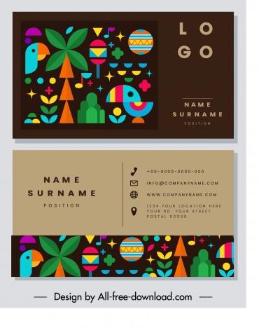 business card template colorful flat design natural emblems