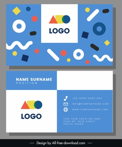 business card template colorful flat shapes dynamic decor