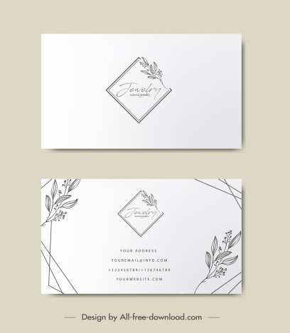 business card template elegant handdrawn floral geometry