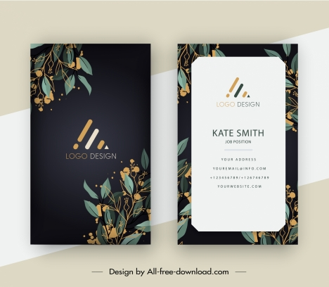 business card template elegant plants decor
