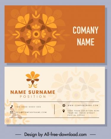 business card template flat flower sketch classic design