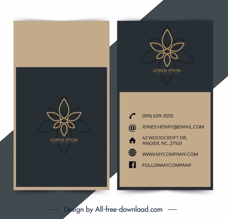 business card template flora decor classic flat sketch