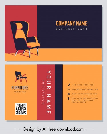 business card template furniture chair decor colorful classic