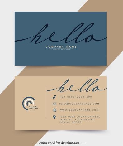 business card template plain flat design calligraphic decor