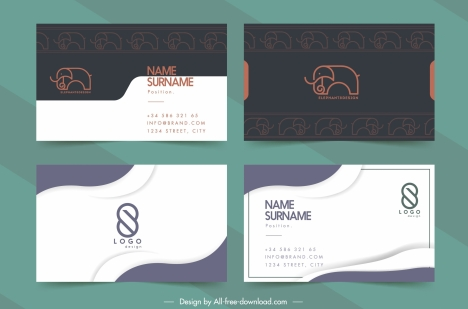 business card templates classic handdrawn logo decor