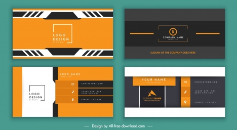 business card templates colored flat technology design