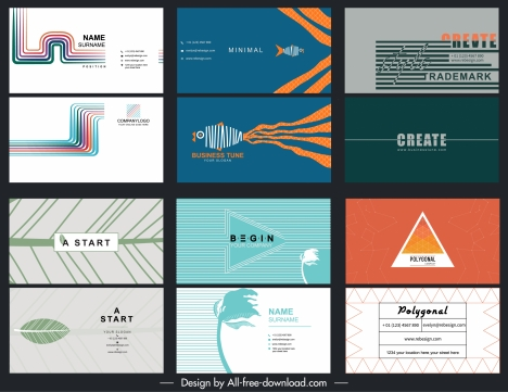 business card templates colored modern flat decor