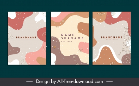 business card templates colorful abstract curves decor