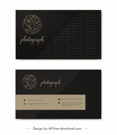 business card templates dark black waves fish sketch