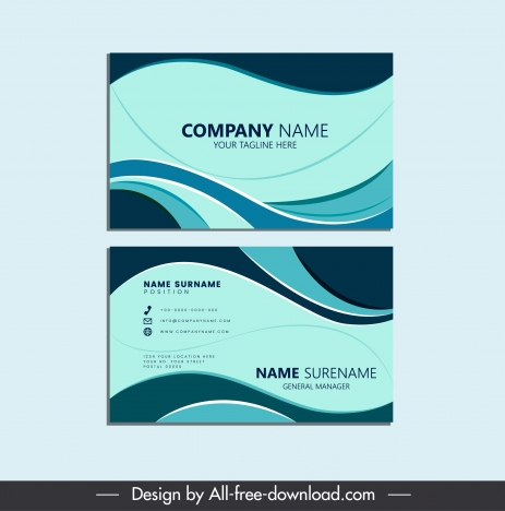 business card templates dynamic abstract curves decor