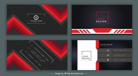 business card templates elegant dark black red decor