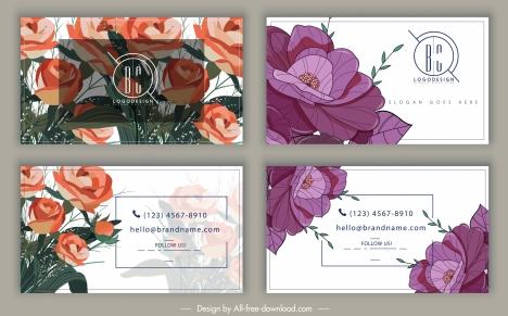 business card templates elegant floral decor