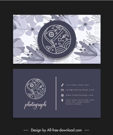 business card templates fish logotype classic floral decor