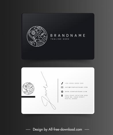 business card templates fish theme black white flat sketch