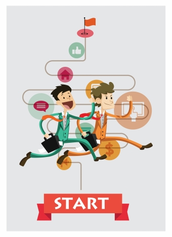 business competition infographic illustration with racing men