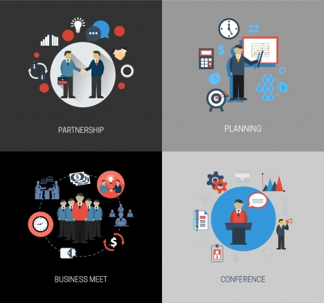 business concepts isolated with various flat illustration