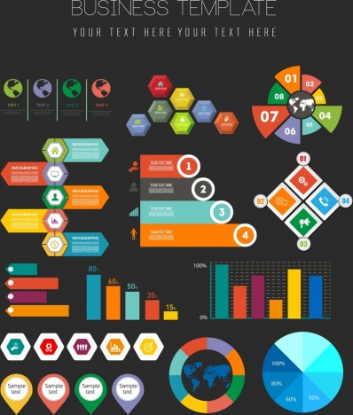 business graph design elements multicolored shapes