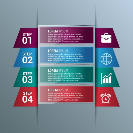 business infographic design glossy colored style