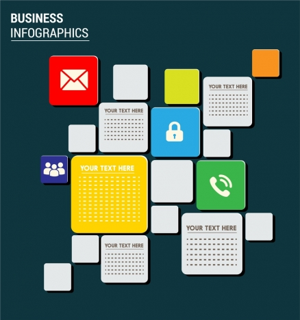 business infographic design including interfaces and squares