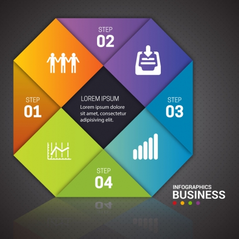 business infographic design with colorful geometries combination