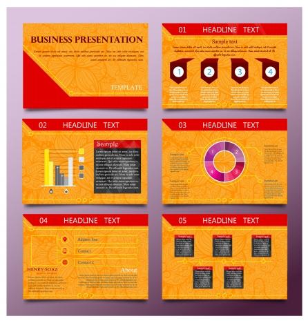 business presentation templates design with orange vignette background