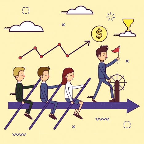 business teamwork concept background human arrow row icons