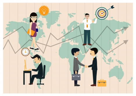 business vector illustration with people on vigentte map