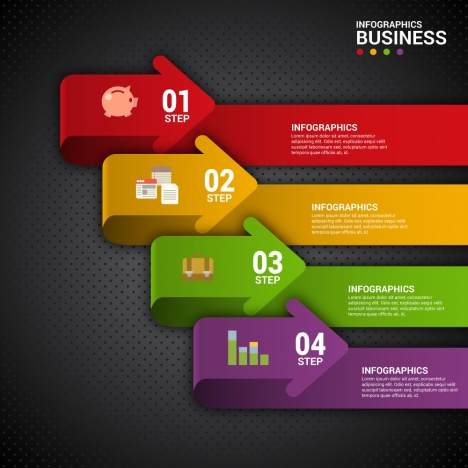 bussiness steps infographic diagram with 3d arrows