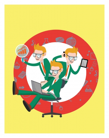 busy businessman vector illustration with multi tasks