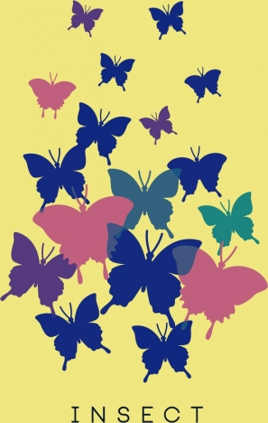 butterflies background multicolored flat ornament