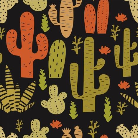cactus background various shapes dark flat design