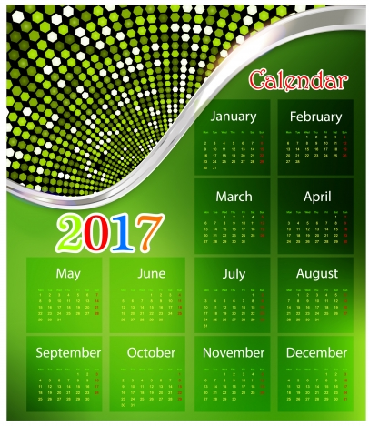 calendar 2017 design with green background modern style