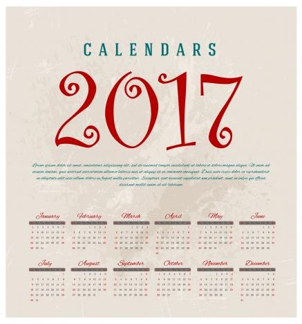 calendar 2017 templates
