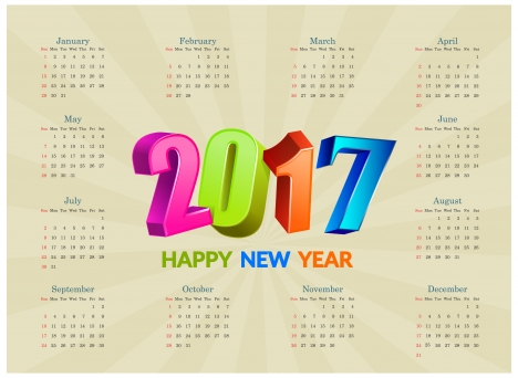 calendar 2017 templates 3d colorful