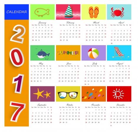 calendar 2017 templates beach time