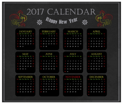 calendar 2017 templates chicken year