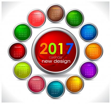 calendar 2017 templates circle button