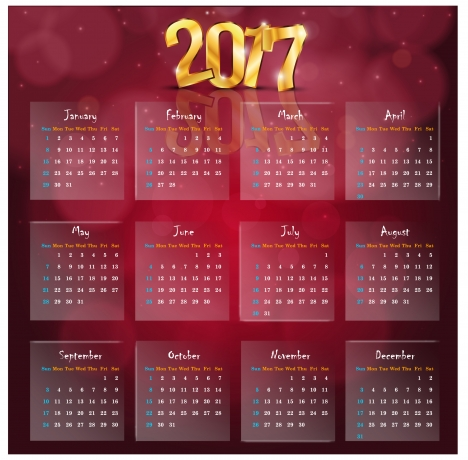 calendar 2017 templates golden 3d transparency