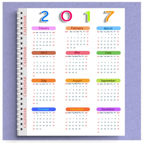 calendar 2017 templates note book