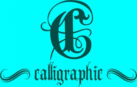 calligraphic icon design classical curves style