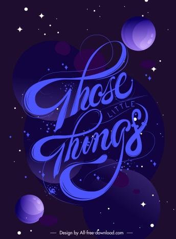 calligraphic texts background dark design planets bubbles decor