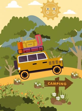 camping background car luggage icons stylized cartoon decor