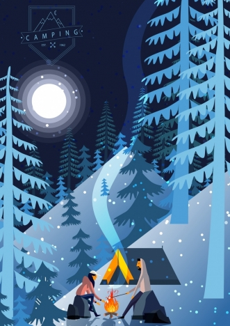 camping drawing snowy mountain moonlight campfire icons