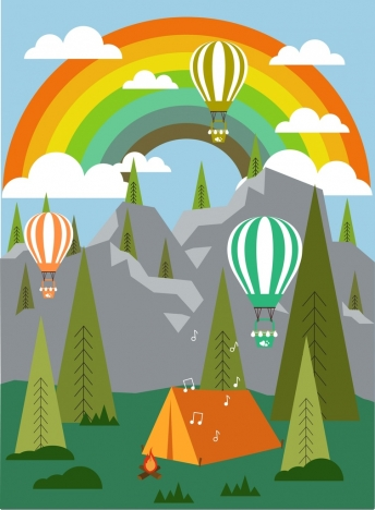 camping landscape background colorful rainbow balloon tent icons