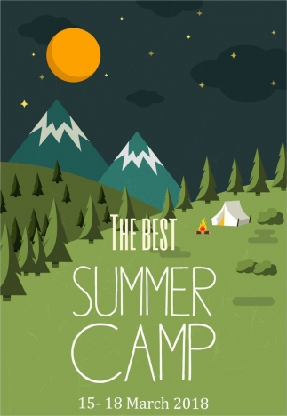 camping poster mountain landscape tent moon icons decor