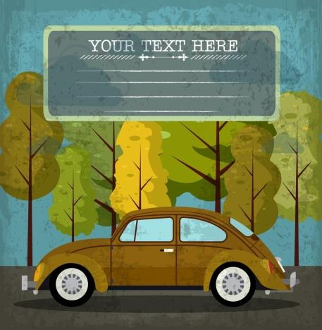 car background colored retro design