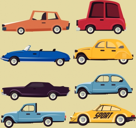 car icons collection various types flat design