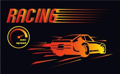 car racing background dark design speedometer icon