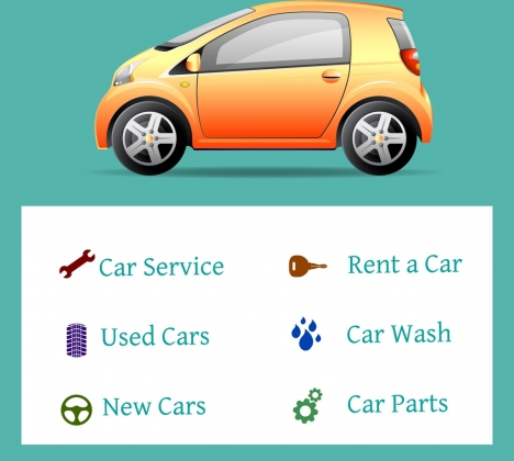 car service advertising shiny colored icon texts decor