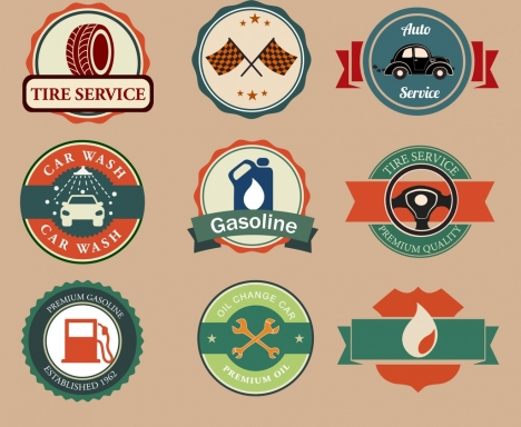 car signs collection various retro design circle shapes